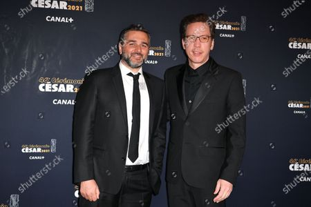Stock Image of Olivier Nakache and Reda Kateb arrive at the 46th Cesar Film Awards 2021 ceremony at l'Olympia in Paris
