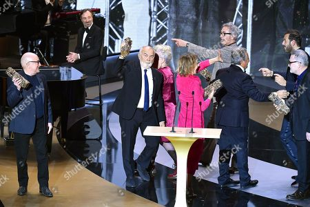 The Splendid Troop Josiane Balasko, Michel Blanc, Thierry Lhermitte, Marie-Anne Chazel, Gerard Jugnot, Christian Clavier and Bruno Moynot receive the Honorary Cesar award at 46th Cesar Film Awards 2021 ceremony at l'Olympia in Paris on March 12, 2021 in Paris, France.