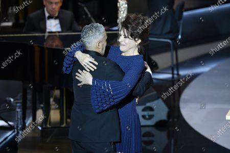 Fanny Ardant and Sami Bouajila receive the Best Actor Cesar award for the movie 'Un Fils'