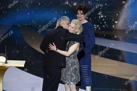 Fanny Ardant, Marina Fois annd Sami Bouajila receive the Best Actor Cesar award for the movie 'Un Fils'