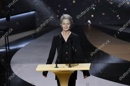 Stock Picture of English actress Charlotte Rampling delivers a speech at 46th Cesar Film Awards 2021 ceremony at l'Olympia in Paris on March 12, 2021 in Paris, France.