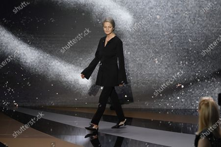 English actress Charlotte Rampling delivers a speech at 46th Cesar Film Awards 2021 ceremony at l'Olympia in Paris on March 12, 2021 in Paris, France.