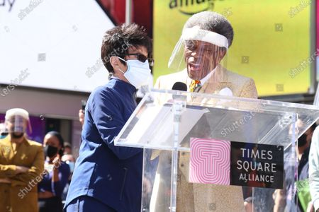 Stock Photo of Chita Rivera and Andre de Shields participating in We Will Be Back, presented by Broadway Cares/Equity Fights AIDS, NYCNext, and the Times Square Alliance, held in Duffy Square.