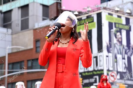 Nikki M. James participating in We Will Be Back, presented by Broadway Cares/Equity Fights AIDS, NYCNext, and the Times Square Alliance, held in Duffy Square.