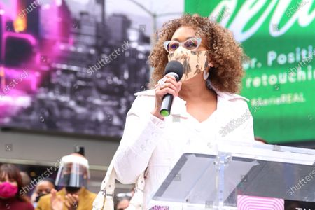Tamara Tunie participating in We Will Be Back, presented by Broadway Cares/Equity Fights AIDS, NYCNext, and the Times Square Alliance, held in Duffy Square.