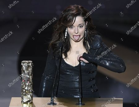 Laure Calamy receives the Cesar award for Best Actress in 'Antoinette Dans Les Cevennes' during the 46th annual Cesar awards ceremony held at the Olympia concert hall in Paris, France, 12 March 2021.