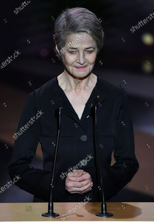 Charlotte Rampling speaks during the 46th annual Cesar awards ceremony held at the Olympia concert hall in Paris, France, 12 March 2021.