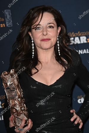 Laure Calamy poses with the Best Actress Cesar award for the movie 'Antoinette dans les Cevennes' during the 46th Cesar Film Awards 2021 ceremony at l'Olympia in Paris on March 12, 2021 in Paris, France.