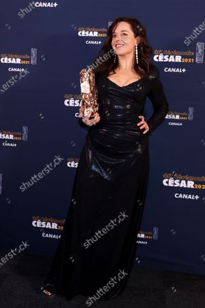 Laure Calamy poses during a photocall after receiving the Best Actress Award for her role in the film 'Antoinette dans les Cevennes' (My Donkey, My Lover & I) during the 46th annual Cesar awards ceremony held at the Olympia concert hall in Paris, France, 12 March 2021.