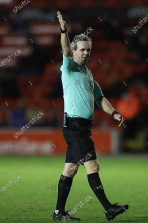 Referee Carl Brook   during the Sky Bet League 2 match between Walsall and Barrow at the Banks' Stadium, Walsall on Friday 12th March 2021.
