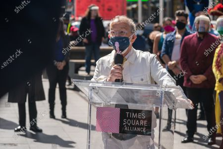 "Joel Grey speaks during the ""We Will Be Back"" Broadway Celebration in Times Square on March 12, 2021 in New York City. ""We Will Be Back"" was a special pop-up performance and commemoration of Broadway's ""lost year."" One year ago, on March 12, 2020, Broadway was shut down in an effort to slow the spread of the coronavirus and has not reopened."