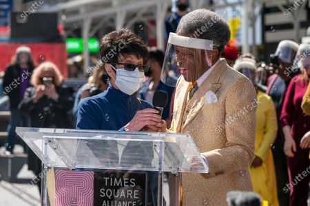 "Stock Photo of Chita Rivera and Andre De Shields speak during the ""We Will Be Back"" Broadway Celebration in Times Square on March 12, 2021 in New York City. ""We Will Be Back"" was a special pop-up performance and commemoration of Broadway's ""lost year."" One year ago, on March 12, 2020, Broadway was shut down in an effort to slow the spread of the coronavirus and has not reopened."