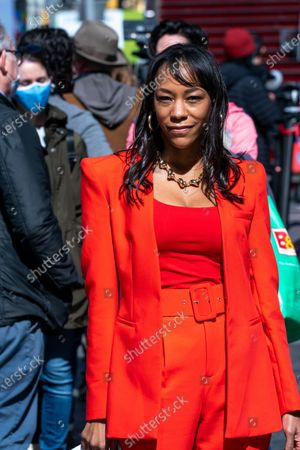 "Nikki M. James is seen during the ""We Will Be Back"" Broadway Celebration in Times Square on March 12, 2021 in New York City. ""We Will Be Back"" was a special pop-up performance and commemoration of Broadway's ""lost year."" One year ago, on March 12, 2020, Broadway was shut down in an effort to slow the spread of the coronavirus and has not reopened."