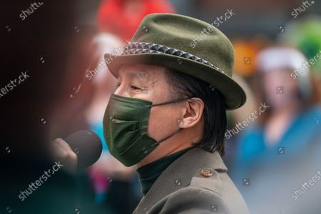 "Stock Image of B. D. Wong speaks during the ""We Will Be Back"" Broadway Celebration in Times Square on March 12, 2021 in New York City. ""We Will Be Back"" was a special pop-up performance and commemoration of Broadway's ""lost year."" One year ago, on March 12, 2020, Broadway was shut down in an effort to slow the spread of the coronavirus and has not reopened."