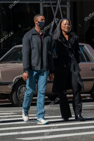 Michael B. Jordan and Chante Adams are seen at the movie set of the 'A Journal for Jordan' near Union Square Park