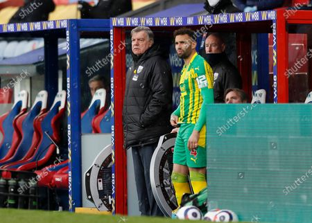West Bromwich Albion manager Sam Allardyce looks on from the dugout alongside Hal Robson-Kanu of West Bromwich Albion; 10/13th March 2021; Selhurst Park, London, England; English Premier League Football, Crystal Palace versus West Bromwich Albion.