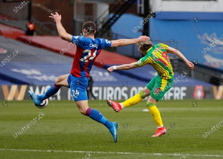 Conor Gallagher of West Bromwich Albion taking a shot past Gary Cahill of Crystal Palace; Selhurst Park, London, England; English Premier League Football, Crystal Palace versus West Bromwich Albion.