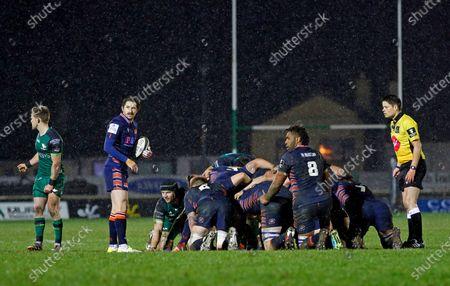 Henry Pyrgos gets ready for a scrum for Edinburgh; Galway Sportsgrounds, Galway, Connacht, Ireland; Guinness Pro 14 Rugby, Connacht versus Edinburgh.