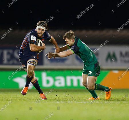 Ally Miller (Edinburgh) gets away from Matt Healy (Connacht); Galway Sportsgrounds, Galway, Connacht, Ireland; Guinness Pro 14 Rugby, Connacht versus Edinburgh.