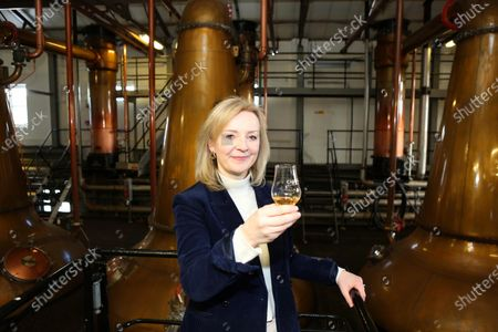 Editorial picture of International Trade Secretary Liz Truss visits Cardhu Distillery and Johnstons of Elgin woolen mill, Scotland - 12 Mar 2021