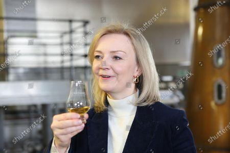 Stock Image of International Trade Secretary Liz Truss visiting the Cardhu Distillery.