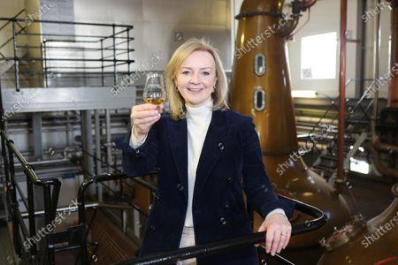 International Trade Secretary Liz Truss visiting the Cardhu Distillery.