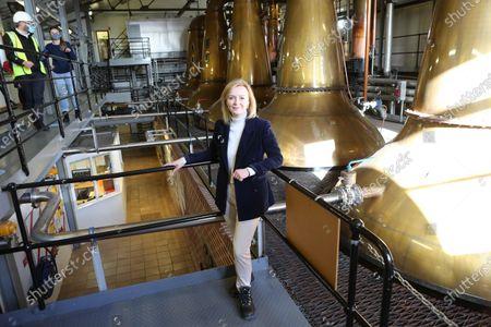 Stock Picture of International Trade Secretary Liz Truss visiting the Cardhu Distillery.
