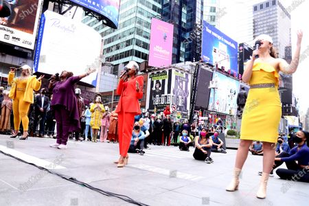 Editorial image of 'We Will Be Back' event, Duffy Square, New York, USA - 12 Mar 2021