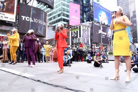 Peppermint, Lillias White, Nikki M. James, and Solea Pfeiffer participating in We Will Be Back, presented by Broadway Cares/Equity Fights AIDS, NYCNext, and the Times Square Alliance, held in Duffy Square, on March 12, 2021, in New York City.