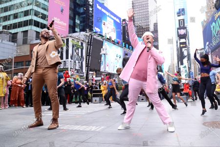 Charl Brown and Kelvin Moon Loh participating in We Will Be Back, presented by Broadway Cares/Equity Fights AIDS, NYCNext, and the Times Square Alliance, held in Duffy Square, on March 12, 2021, in New York City.