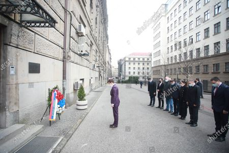 The Prime Minister of Serbia Ana Brnabic laid a wreath on the memorial plaque in the yard of the Government of Serbia, where the Prime Minister and President of the Democratic Party Zoran Djindjic was killed by sniper shots on March 12, 2003.