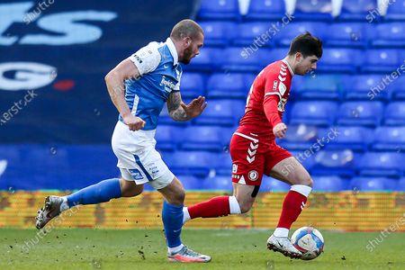 Liam Walsh of Bristol City takes on Harlee Dean of Birmingham City