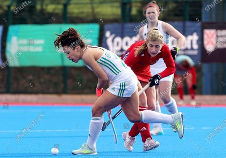 Ireland vs Great Britain. Ireland's Anna O'Flanagan and Sarah Evans of Great Britain