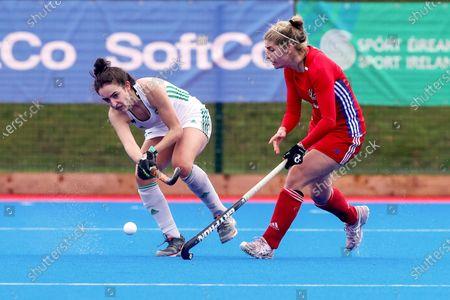 Ireland vs Great Britain. Ireland's Hannah McLoughlin and Sarah Evans of Great Britain