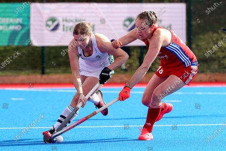 Ireland vs Great Britain. Ireland's Katie Mullan and Giselle Ansley of Great Britain
