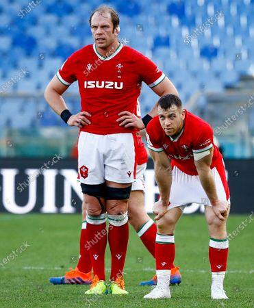 Stock Image of Italy vs Wales. Wales' Alun Wyn Jones with Gareth Davies