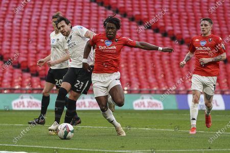 Brandon Thomas-Asante of Salford City battles with Charlie Daniels of Portsmouth during final of the EFL Trophy, between Portsmouth and Salford City at Wembley Stadium, London