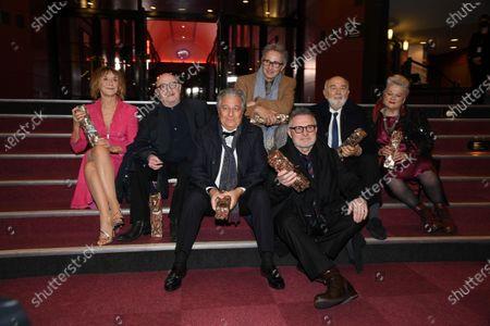 The Splendid Troop : (L to R) Marie-Anne Chazel, Michel Blanc, Christian Clavier, Thierry Lhermitte, Bruno Moynot, GZrard Jugnot and Josiane Balasko