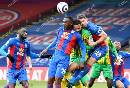 Christian Benteke (2-L) and Gary Cahill (2-R) of Crystal Palace in action against Kyle Bartley (C) of West Bromwich during the English Premier League soccer match between Crystal Palace and West Bromwich Albion in London, Britain, 13 March 2021.