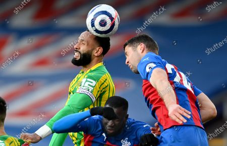 Kyle Bartley (L) of West Bromwich in action against Gary Cahill (R) of West Bromwich during the English Premier League soccer match between Crystal Palace and West Bromwich Albion in London, Britain, 13 March 2021.