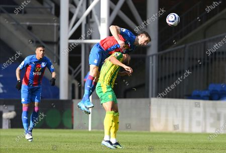 Crystal Palace's Gary Cahill vies with West Bromwich Albion's Matt Phillips during the English Premier League soccer match between Crystal Palace and West Bromwich Albion at Selhurst Park stadium in London, England