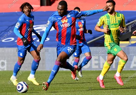 Christian Benteke (C) of Crystal Palace in action during the English Premier League soccer match between Crystal Palace and West Bromwich Albion in London, Britain, 13 March 2021.