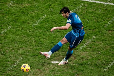Sardar Azmoun of Zenit Saint Petersburg shoots to score a penalty shot during the Russian Premier League match between FC Zenit Saint Petersburg and FC Akhmat Grozny on March 13, 2021 at Gazprom Arena in Saint Petersburg, Russia.