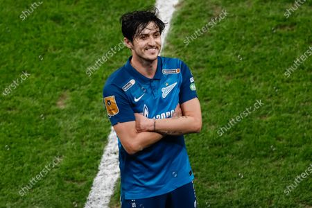 Sardar Azmoun of Zenit Saint Petersburg celebrates his goal during the Russian Premier League match between FC Zenit Saint Petersburg and FC Akhmat Grozny on March 13, 2021 at Gazprom Arena in Saint Petersburg, Russia.