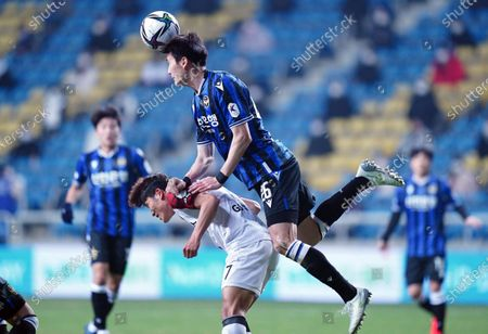 Stock Picture of Oh Ban-suk of Incheon United heads the ball during 2021 K League 1 match between Incheon United and FC Seoul at Incheon Football Stadium in Incheon, South Korea, on March 13, 2021.
