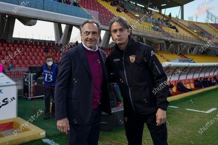 ACF Fiorentina's coach Cesare Prandelli (L) and Benevento's coach Filippo Inzaghi prior to the Italian Serie A soccer match Benevento Calcio vs ACF Fiorentina at Ciro Vigorito stadium in Benevento, Italy, 13 March 2021.