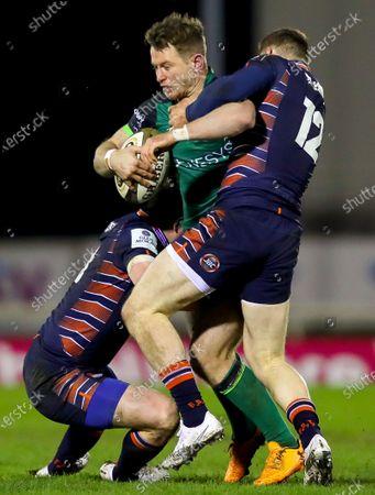 Connacht vs Edinburgh. Connacht's Matt Healy is tackled by George Taylor of Edinburgh