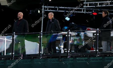 Stock Picture of Lawrence Dallaglio, Clive Woodward & Jonny Wilkinson working for TV