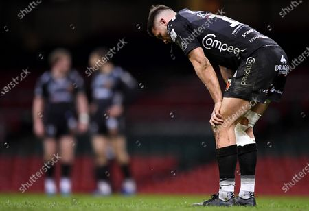 Dragons vs Ulster. Dragons' Josh Lewis after the game