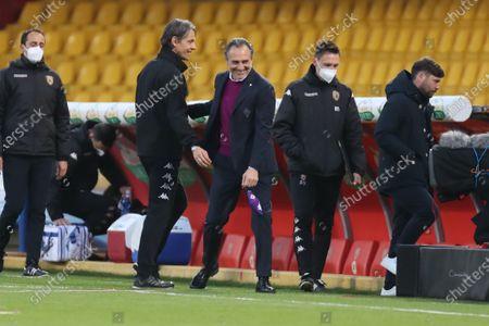 Stock Image of Coach Filippo Inzaghi (Benevento Calcio) and Coach Cesare Prandelli (ACF Fiorentina)